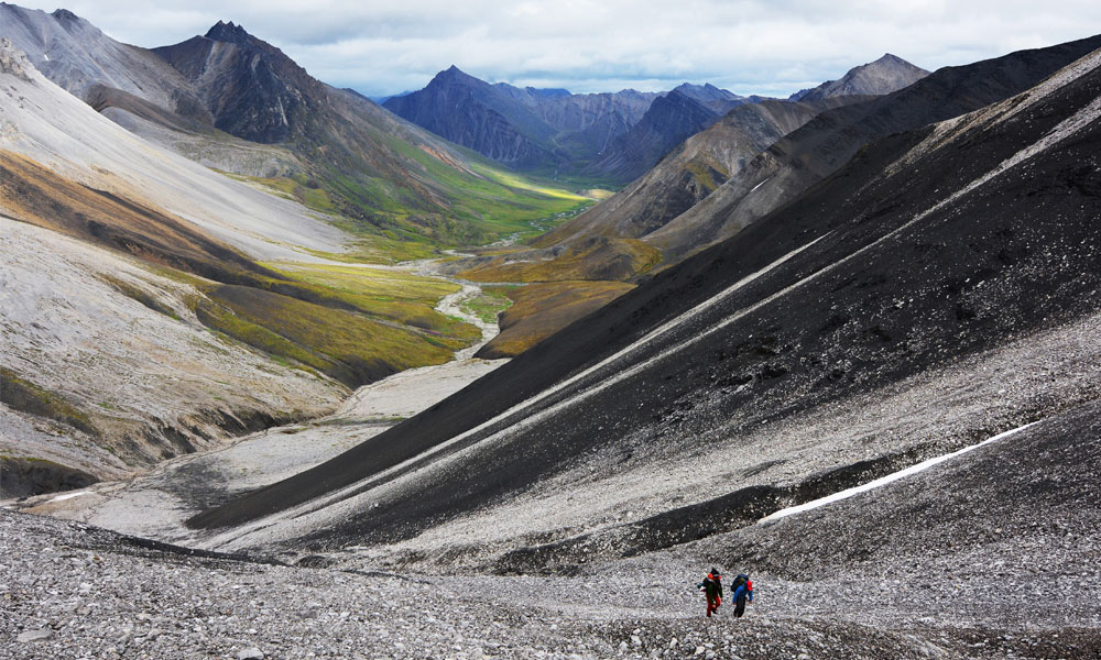 Photo of hikers in the Arctic